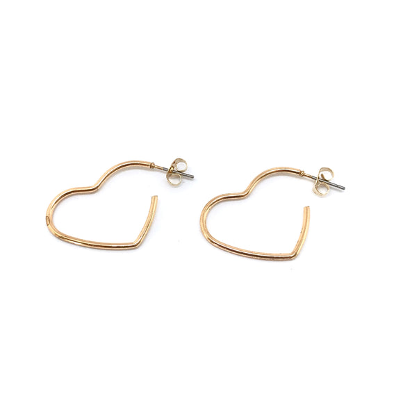 Heart Me Hoops - Gold heart shape hoop earrings, Minimal heart open hoops - Kurumidori