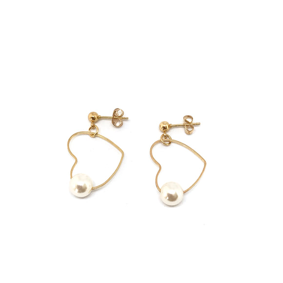 Mae Pearl Earrings - Heart shape hoops, Dainty heart pearl earrings - Kurumidori