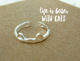silver cat hug adjustable ring