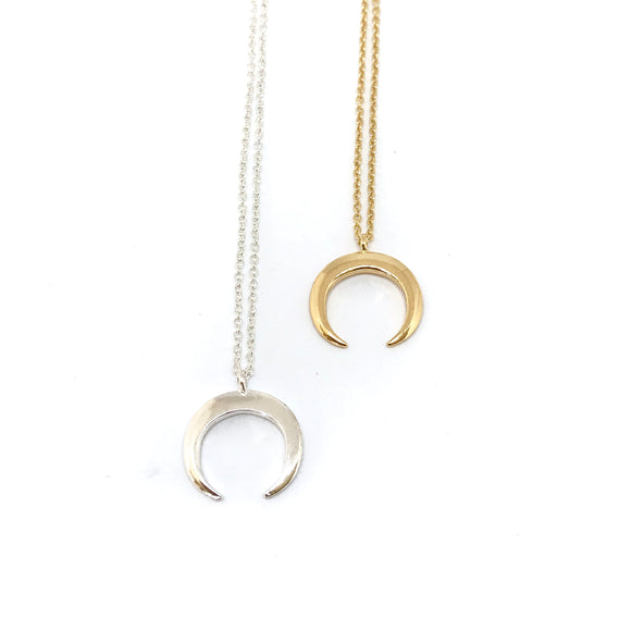 Crescent Moon Necklace - Gold Silver half moon necklace, crescent moon pendant - Kurumidori