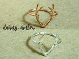 dainty deer antler ring in silver/rose gold