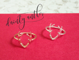 dainty antler ring in silver/rose gold