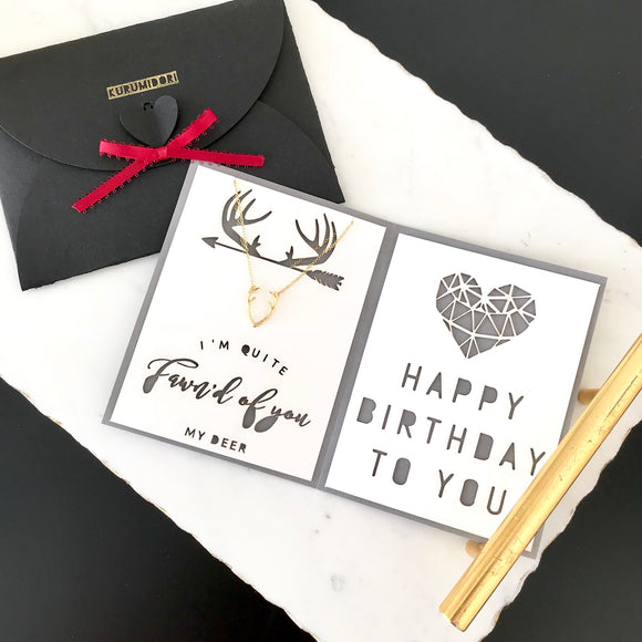 Dainty deer necklace with custom birthday card - personalized gift for her