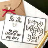 dainty deer antler necklace in gold/silver/rose gold with custom birthday card - personalized gift for her - birthday gift for nature lover