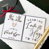dainty deer antler necklace in gold/silver/rose gold with custom thank you card - cute personalized gift for her