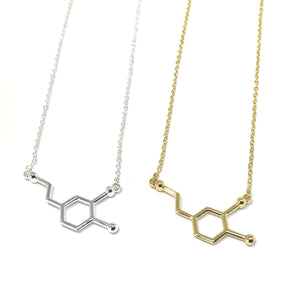dopamine molecule science necklace in gold and silver