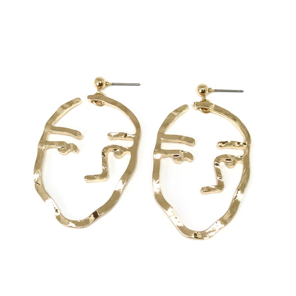 Drawing poker face gold earrings