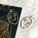 Gold drawing face art earrings - unique earrings