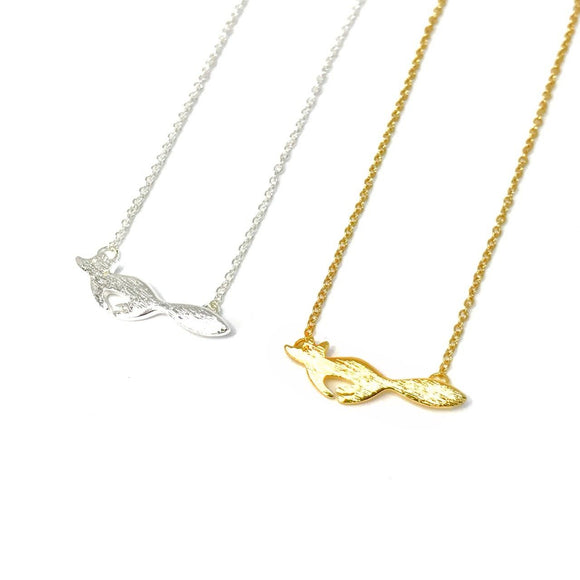 Dainty running fox necklace in 14k gold/silver - mini animal pendant