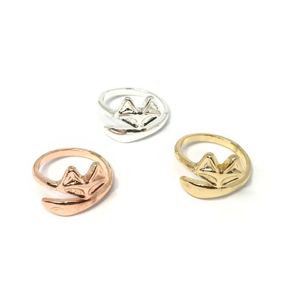 Cute Fox Open Ring in gold/rose gold/silver - animal lover jewelry