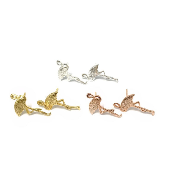 Dainty tiny flamingo stud earrings in gold/rose gold/silver - summer vibes earrings