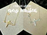 ECG heartbeat matching necklace in gold/silver
