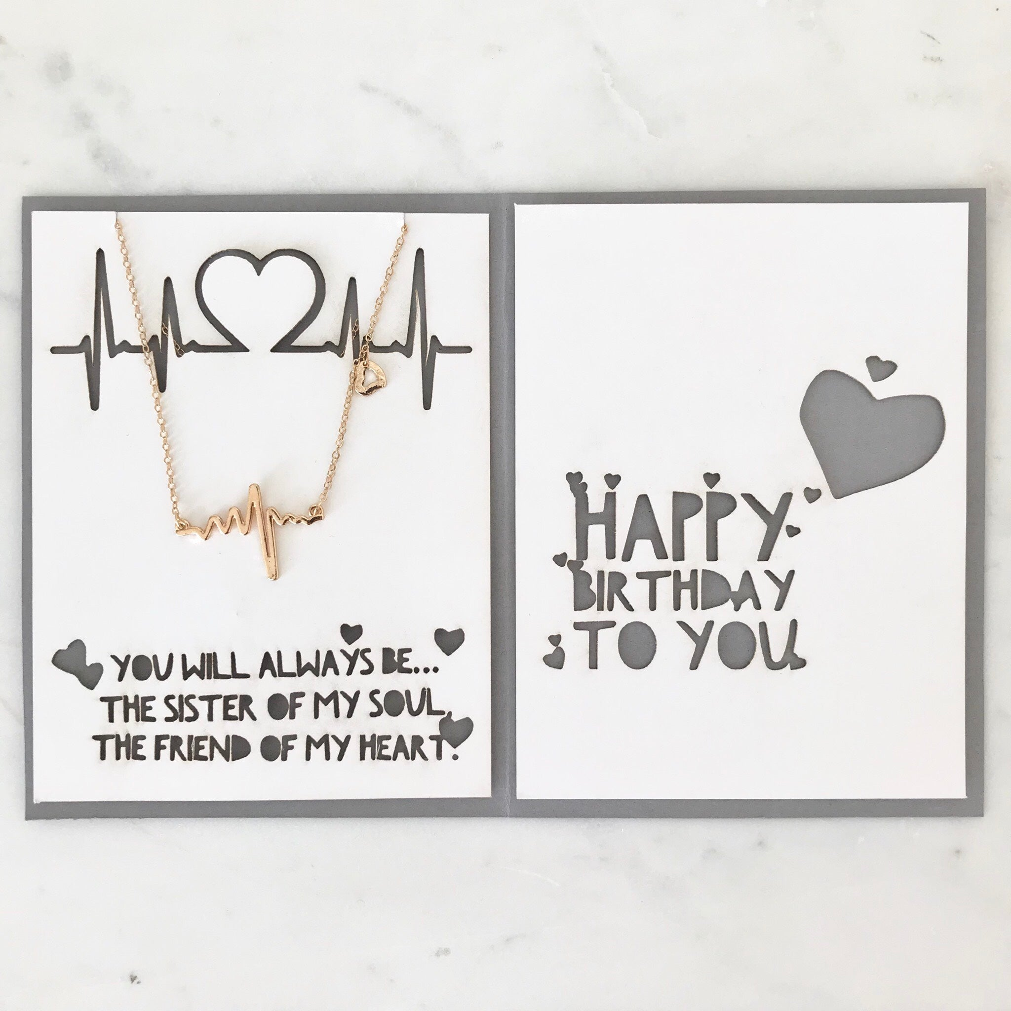 EKG Heartbeat Necklace In Gold Silver With Custom Birthday Card