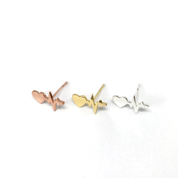 tiny ECG heartbeat stud earrings in gold/silver/rose gold