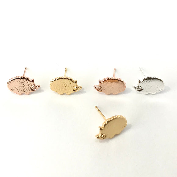 tiny cute hedgehog stud earrings in gold/silver/rose gold - hedgehog jewelry