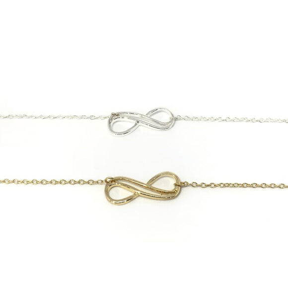 Infinity forever necklace in gold and silver