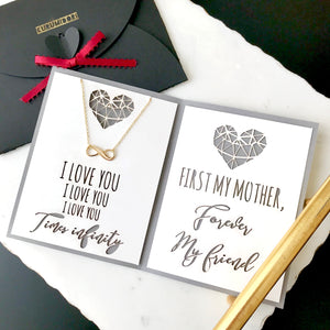 "Minimal infinity charm necklace in gold/silver with custom mother's day card - meaningful personalized jewelry gift for mom ""i love you times infinity"""