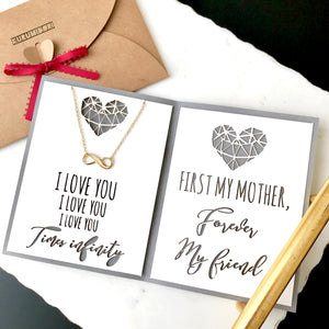 "Minimal infinity charm necklace in gold/silver with custom mother's day card - meaningful personalized jewelry gift for mom - ""first my mother, forever my friend"""