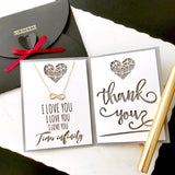 Dainty infinity necklace in gold/silver with custom thank you message card - cute personalized gift for her