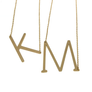 Gold large initial monogram necklace - personalized necklace
