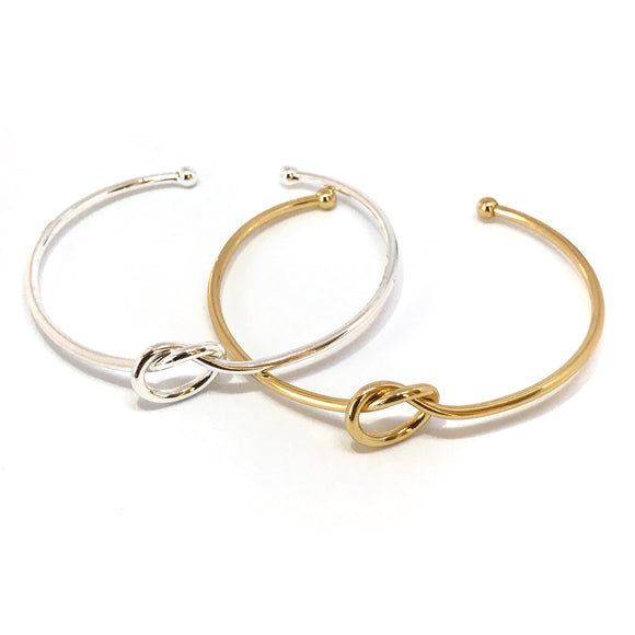 Love knot adjustable bangle bracelet in gold/sterling silver - matching jewelry