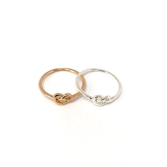 Tiny love knot ring in rose gold / sterling silver - matching jewelry
