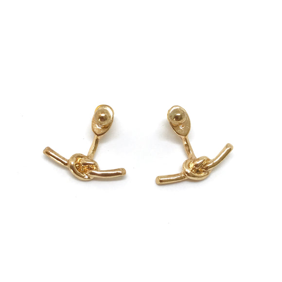 Love Knot Ear Jacket - Gold knot earrings, Minimal knot ear jacket - Kurumidori