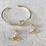 Love Knot Ear Jacket and Love Knot Bangle - Gold love knot jewelry, minimal chic jewelry - Kurumidori