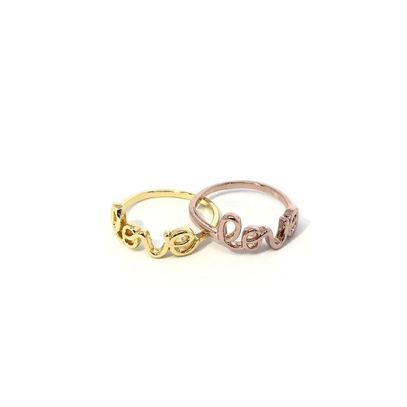 Love letter ring in gold and rose gold