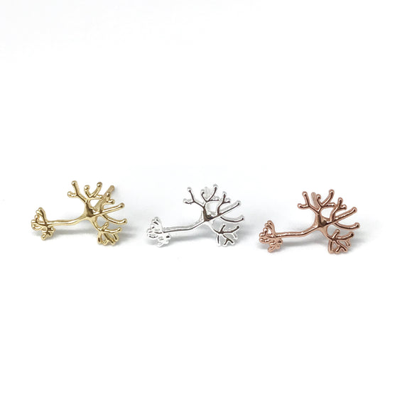 Dainty neuron nerve cell stud earrings in gold/silver/rose gold - science jewelry