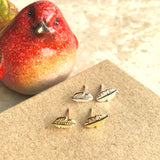 Tiny feather leaf stud earrings in gold/silver - nature jewelry