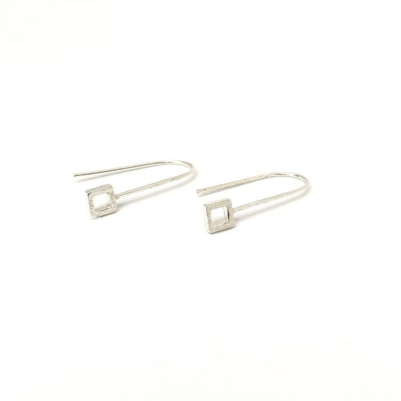 Silver tiny square hook earrings - geometric earrings