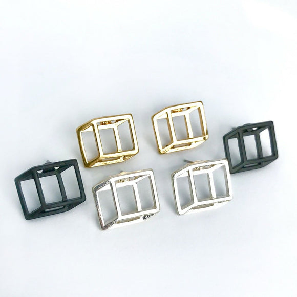 Geometric 3D art cube stud earrings