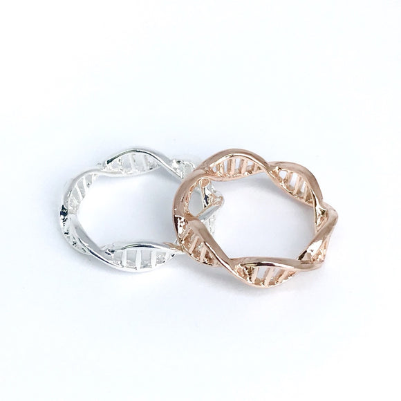 Minimal DNA molecule band ring in sterling silver and rose gold
