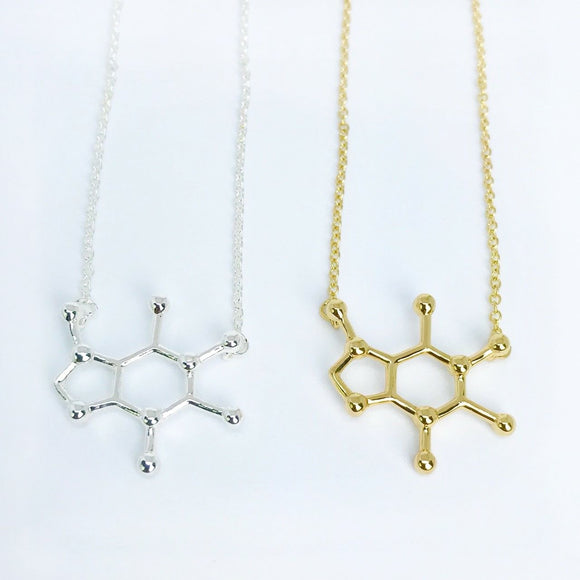 gold and silver caffeine molecule necklaces for coffee lover