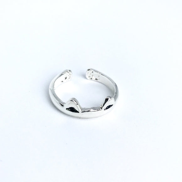 silver cat paw & ears ring for cat lover
