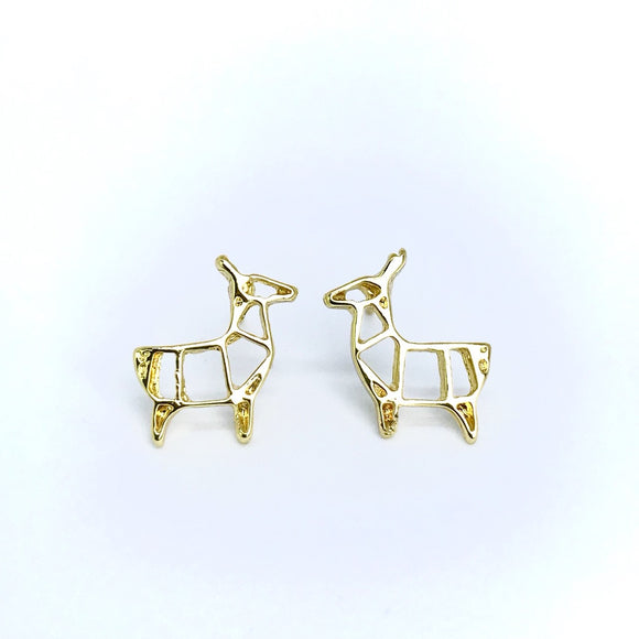 Minimalist origami paper deer stud earrings