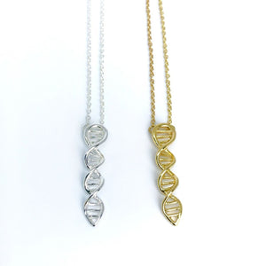 Dainty DNA molecule necklaces for science lover