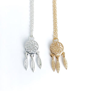 Dainty boho dream catcher necklaces in gold and sterling silver
