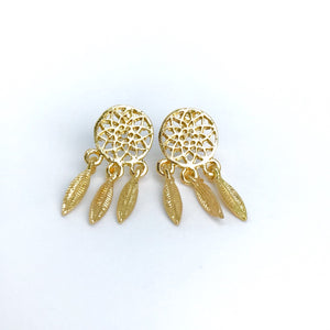 Dainty boho gold dream catcher stud earrings