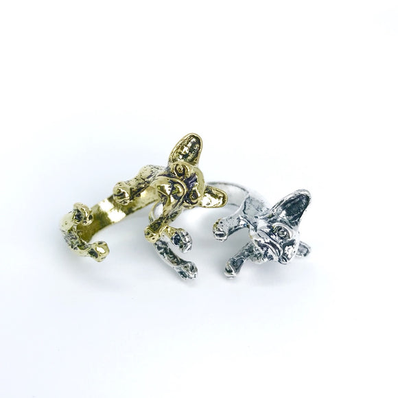 Gold and Silver French bulldog hug ring for dog lover