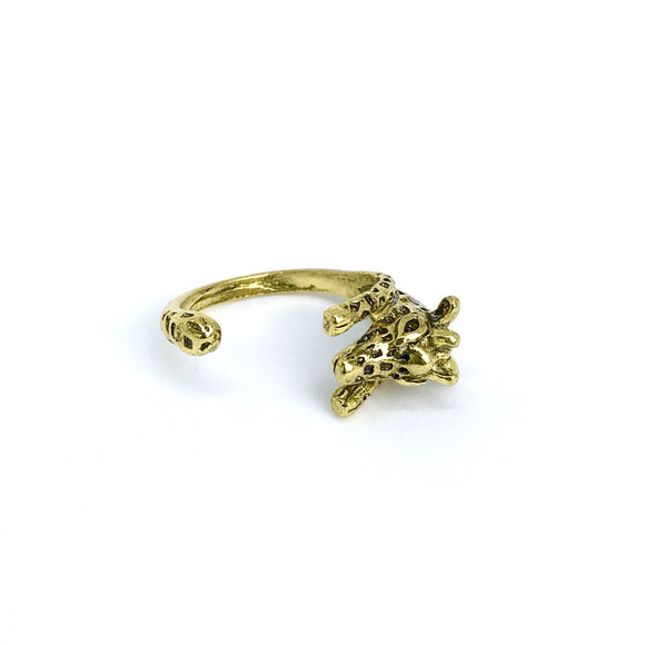 Gold cute giraffe adjustable ring