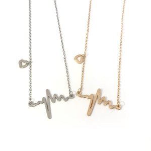 Best friend matching cute ECG EKG heartbeat necklaces in gold / silver