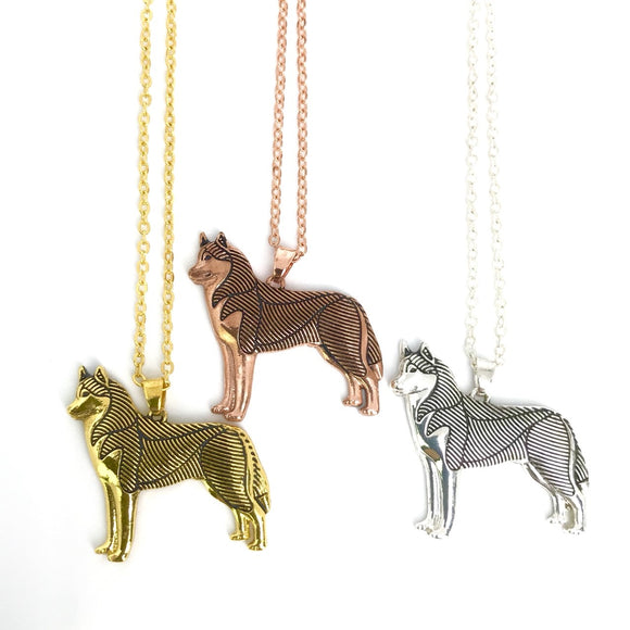Gold Silver Rose gold husky dog charm necklace