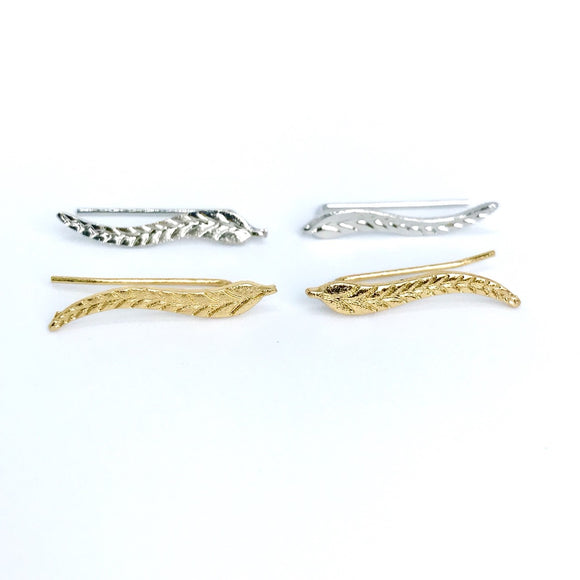 Minimal leaf feather ear climber in gold and silver