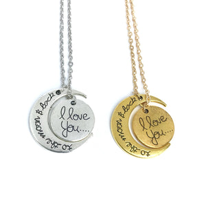 I love you to the moon & back matching necklaces