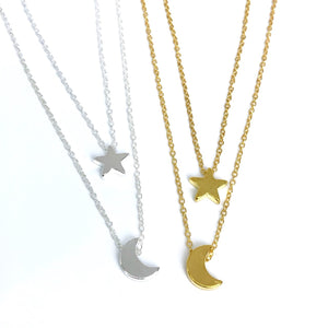 Gold & Silver Celestial layered necklace - moon and star