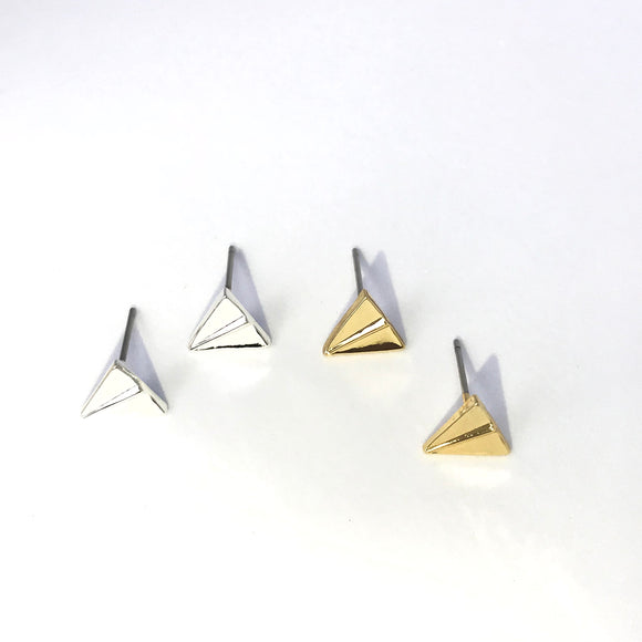 Tiny origami paper plane stud earrings in gold/silver for travel lover