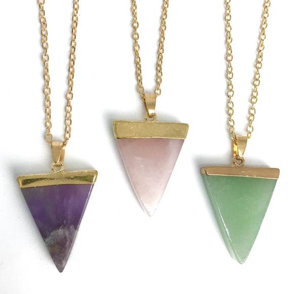 Triangle quartz crystal necklace - gemstone pendant