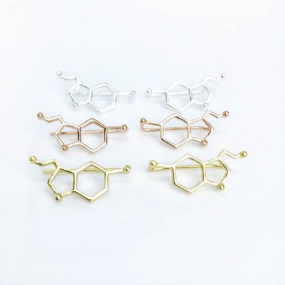 Minimal serotonin molecule ear climber earrings in gold/silver/rose gold